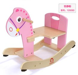 Wholesale Fast Chairs - Wooden Rocking Horse Animal Kid Chair Children Baby Vintage Rocker Toy Infants Baby Kids Developmental Toy Fast Shipping ZD017B