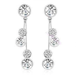 Wholesale Wholesale Swarovski Rings - NEW Round White Swarovski Crystal Drop Dangle Earrings 18K Gold Plated Gift E625 earrings hoop ring earring round hoop