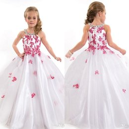 Wholesale Cap Hater - 2016 Lovely White and Fuchsia Girls Pageant Dresses for Teens Hater Tulle Ball Gown Beads Appliqued Wedding Flower Girls Dresses
