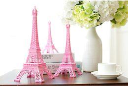 Wholesale Eiffel Tower Topper - Romantic Pink Paris 3D Eiffel Tower model Alloy Eiffel Tower Metal craft for Wedding centerpieces table centerpiece 10cm 18cm 25cm 30cm tall