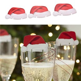 Wholesale F Cards - 10 pcs lot Table Place Cards Christmas Santa Hat Wine Glass Decoration Christmas Party Cute Two Piece