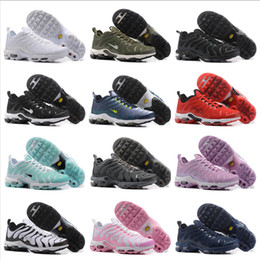 Wholesale Cheap Plus Size Shoes - 2018 New Air Cushion Plus TN Ultra Running Shoes For Mens Womens Sports Shoes Cheap High Quality Outdoor Casual Sneakers Size 5.5-12
