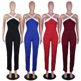 Wholesale Cheap Jumpsuits For Women - Jumpsuit women adults halter backless sexy summer strapless cheap high waist pant party even cocktail club jumpsuits rombers for juniors