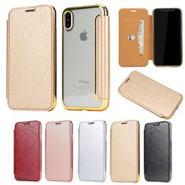 Wholesale Iphone Sleeve Thin - For Mobile phone coat protection shell iphone 8 x clamshell phone cover iphone 7 ultra thin plating TPU phone protection sleeve case