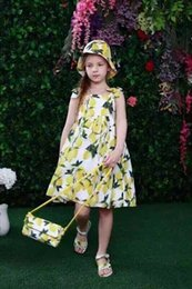 Wholesale Monsoon Girls - 2016 Wl monsoon Baby Girls Dress Summer Dress Children Girl Poppy and Daisy Print Kids Clothes Girls Dresses Designer Princess Dress