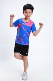 Wholesale Victor Shirt - Victor Children badminton Suits,kids Competition Shirt training Shorts,Victor tennis sports clothes,table tennis shirts shorts Blue XS-3XL