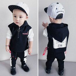Wholesale Korean Casual Outfits - Autumn 2017 New Boys Clothing Sets Korean kids boutique outfits 2pcs sets hoodie Hoody+trousers Pants Children tracksuit Sports Set A1171