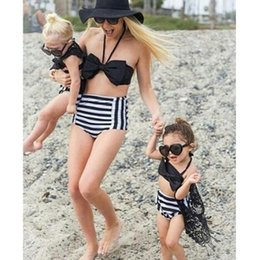 Wholesale Toddlers Swim Suits - 2017 Summer Family Match Swimsuit Mother and Daughter Floral Bikini Set Toddler Kids Swimming Bathing Suit High Waist Swimming