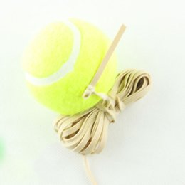 Wholesale Ball Tennis Elastic - Wholesale- Outdoor Sports Yellow High Elasticity Tennis Balls With Elastic Rubber Rope For Training Competition