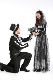 Wholesale Zombie Bride Costumes - Zombie Bride or Bridegroom Adult Halloween Cosplay party Fancy Dress Costume 8799 S-L