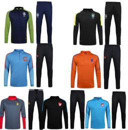 Wholesale Netherlands Training - 2016 2017 Long Sleeve Belgium Tracksuit Jogging Survetement Soccer Sets Uniform Football Netherlands Turkey Brazil Sweater training Suits