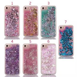 Wholesale Tpu Case Iphone Heart - Liquid Quicksand Sparkle Hard PC+Soft TPU Case For Iphone 7 i7 Plus 6 6P 6+ Silicone Stars Heart Love Powder Floating Glitter Bling Gel Skin