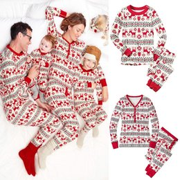 Wholesale European Style Women Suit - New women Christmas pajamas outfits cotton Christmas deer printing suit big girls Clothing Sets C2747
