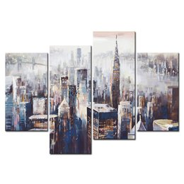 "Wholesale Colorful Abstract Art Oil Paintings - 4 Picture Combination Wall Art ""Colorful City"" Abstract Painting Prints on Canvas for Home Decoration with Wooden Framed"
