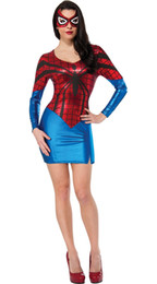 Wholesale Adult Sexy Outfits - Adult SEXY SUPERGIRL Superhero Spiderman Fancy Dress Costume Halloween Outfit 8707 size S-L