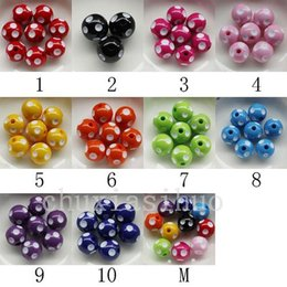 Wholesale 14mm Acrylic Plastic Beads - 80PC Assorted Acrylic Polka Dot Chunky Round Bead Charm 14MM