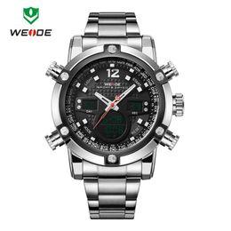 weide militär Rabatt 2016 neue Luxusmarke WEIDE Männer Army Military Watch Herren Quarz LED Digitaluhr voller Stahl Armbanduhr Männer Sportuhren Großhandel