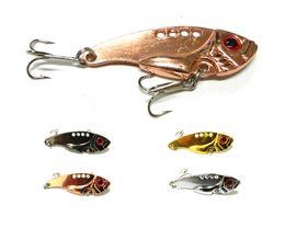 Wholesale Wholesale Blade Baits - Metal blade VIBE Fishing lures 5.5CM 11G 8#hooks vibrator Lure Spoon Metal Lures 30pcs lot (VIB009) free shipping