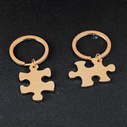 valentine schlüsselanhänger Rabatt Freies Verschiffen neue Schmucksachen beschriften immer für immer Paarliebhaberpuzzlespiel Schlüsselringe Valentinstaggeschenk keychains