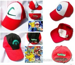 Wholesale Cap Pokemon - New 5 style Poke Ash Ketchum Trainer Hat Costume Cap Adult Mesh Hat Trucker hat caps Free Shipping E839