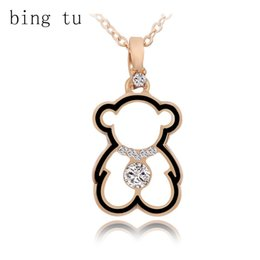 Wholesale Cute Animal Necklaces - Bing Tu Fashion Crystal Necklace Lovely Gold Color Hollow Bear Pendants Necklaces Cute Cartoon Animal Jewelry Women Child Gift