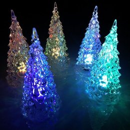Wholesale Cheap Christmas Party Decorations - Christmas Decorations Flashing Christmas Tree Led New Arrival Free Shipping Crystal Cheap For Party Seven Colors Lights For Gifts Creations