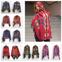 Wholesale Wholesale Capes For Women - ladies bohemian scarves oversized scarf Lady thick Hooded Cape Bohemian shawls wholesale scarves for women wraps cotton hooded scarf B1036