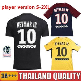 Wholesale Soccer Player Jersey - Player version KYLIAN MBAPPE 17 18 NEYMAR JR soccer jerseys DANI ALVES CAVANI maillot DI MARIA 2017 2018 VERRATT DRAXLER football shirts