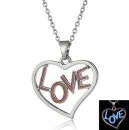 Wholesale Innovation Day - Hot Pink Love fashion lover necklace luminous necklace innovation fluorescent jewelry lovers love the spring and summer Women