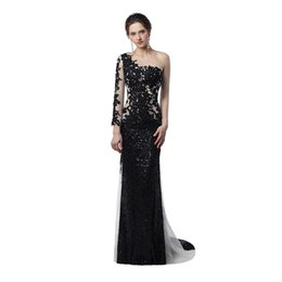Wholesale Black Nude Prom Dresses - Unique Design Sheer Illusion Mermaid Evening Dresses 2018 Nude Black Sequines Applique One Long Sleeves Celebrity Prom Gowns