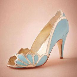 Chaussures de mariage bleues Slip Ons mariée Peep Toe Sandal Pumps PU en cuir 3