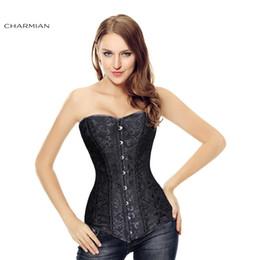 vestido corset de una pieza Rebajas Venta al por mayor-26 de acero doble deshuesado Overbust corso largo corsé y bustiers corsés de entrenamiento de la cintura Shapewear cincher Plus tamaño corsé