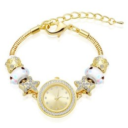 Wholesale 18k Gold Watches For Women - 18K Real Gold Plated Fit Pandora Bracelet Watch Murano Glass Charms Bracelets 27cm Snake Chain Gold Bracelets For Women