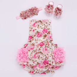 Wholesale Sets For Summer Baby - HOT SALE!!! Floral baby lace romper for toddler headband shoe set;ropa bebe boutique infant summer clothes;newborn baby girl clothes 2sets