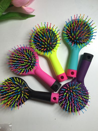 Wholesale Volume Hair Styles - New Fashions 15*7.5cm Hair Salon Volume Brush Combs Colorful Rainbow Comb Shower Salon Styling Tamer Tool Massage Hair Comb free shipping