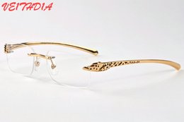Wholesale Sunglasses Spot - 2017 brand buffalo horn glasses designer clear lens glasses women spot leopard frames panther mens sunglasses with boxes eyewear