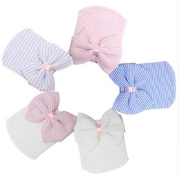 Wholesale Wholesale Winter Tires - 0-3 Months Hospital Newborn Baby Hats Cotton Beanie With Bow Soft Knit Tire Striped Infant Caps toddlers Bebe Photography Hats