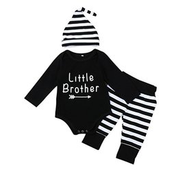 Wholesale Baby Boy Fall Clothing - 2017 Newborn Baby Boys Suits Fall Clothes Little Brother Arrow Printed Bodysuit Romper Striped Pants Hat 3pcs Sets Kids Boy Cotton Outfits