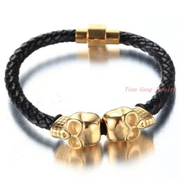 Wholesale Gold Bracelet Twisted Rope Chain - Men Vintage Jewelry Black Leather Rope Bracelet Stainless Steel Bangle gold Skull Design Rock Punk Man Accessories Male Gift