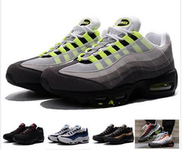 Wholesale Neon Basketball Sneakers - 2016 New Cheap Mens air sports 95 running shoes,Premium OG Neon Cool Grey sporting shoes sneakers size 40-46 with box