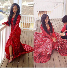 Wholesale Girl High Collar White Shirt - 2017 Red Bling V Neck Mermaid Prom Dresses with Long Sleeve For Black Girls Sexy High Split Evening Dresses Court Train