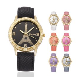 Wholesale Ladies Students Watch - Wholesale love heart women leather paris eiffel tower cowboy vine ladies girls students dress quartz leisure wrist watches