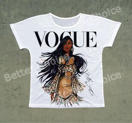 Wholesale L S Model - Track Ship + Vintage Retro T-shirt Top Tee Personality Model Vogue Brown Skin Girl 0779