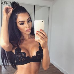 Wholesale Sexy Woman White Underwear - Lace Crochet Bra Underwear Women Sexy Bra V-Neck Adjustable Spaghetti Straps Hollow Out Club Ladies Lace Bras Black Red White Sale SVK031288