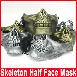 Wholesale Fun Games Men - Skull Masks Fun Paintball PVC Airsoft Scary Skeleton Mask Protective CS Games Halloween Carnival Outdoor Party