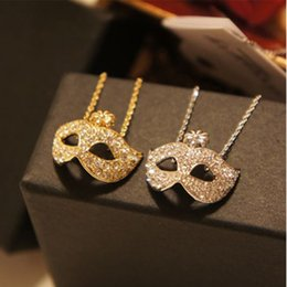 Wholesale Venetian Mask Rhinestones - Fashion Womens Necklace Crystal Rhinestone Masquerade Mask Charm Pendant Gold Silver Venetian Masquerade Ball Cocktail Jewelry Gifts