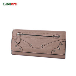 Wholesale Leather Front Pocket Wallet - Wholesale- GINIANI Super Soft Top Leather Women's Nail Decor Long Wallet High-Capacity Front Zipper Pocket Ladies Clutch With Cover