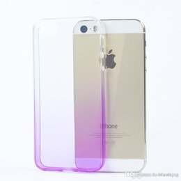 Wholesale Slim Iphone5 - Gradient i5 5s Super Flexible Clear TPU Case For Iphone5 5se Slim Crystal Back Protect Skin Rubber Phone Cover Fundas Silicone Gel Case