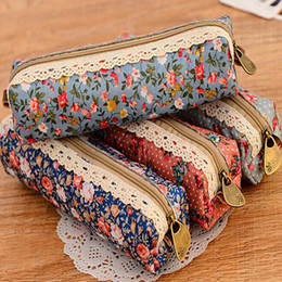 Wholesale Plastic Canvas Supplies - Round Dot Pencils Bag Cute Canvas Flower Zipper Pencil Case School Stationery Supplies For Student Gift 1 45sh C R