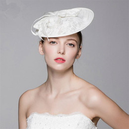 Wholesale Crown Derby - Vintage New Church Derby Vintage Wedding Bridal Fascinator White Pillbox Lace Flower Hat Cap Headband Crown Tiara Headpieces